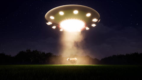 Ufo cow in retro style on light background. Country landscape. Alien space ship Live Action
