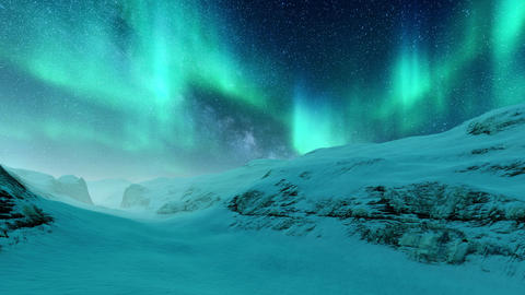 Arctic landscape with Aurora Borealis in starry night sky Live Action