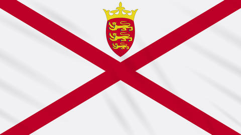 Parishes of Jersey flag waving cloth, ideal for background, loop Animation