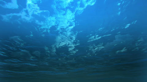 Deep blue ocean with underwater angle Animation