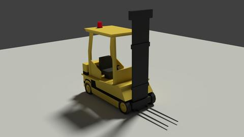 Low Poly Cartoon Forklift Modelo 3D