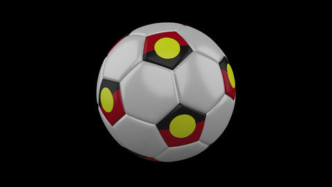 Australian Aboriginal - Mariya flag on ball rotates on alpha transparency, loop Animation