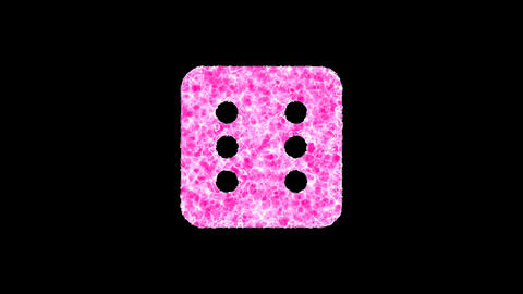 Symbol dice six shimmers in three colors: Purple, Green, Pink. In - Out loop. Alpha channel Animation