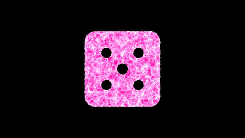 Symbol dice five shimmers in three colors: Purple, Green, Pink. In - Out loop. Alpha channel Animation