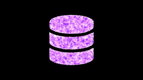 Symbol database shimmers in three colors: Purple, Green, Pink. In - Out loop. Alpha channel Animation