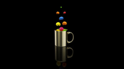 Concept of a hot cup of coffee with brains Animation