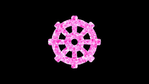 Symbol dharmachakra shimmers in three colors: Purple, Green, Pink. In - Out loop. Alpha channel Animation