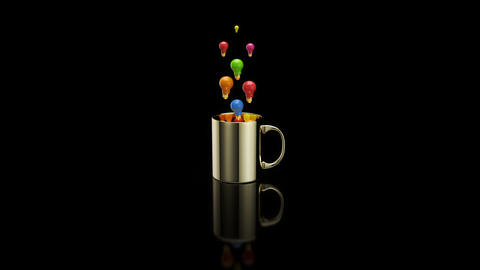 Concept of a hot cup of coffee with lightbulbs Animation