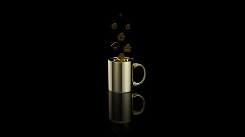 Concept of a hot cup of coffee with houses Animation