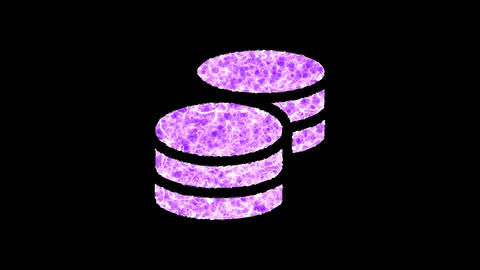 Symbol coins shimmers in three colors: Purple, Green, Pink. In - Out loop. Alpha channel Animation