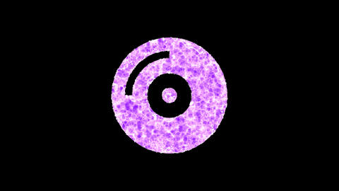 Symbol compact disc shimmers in three colors: Purple, Green, Pink. In - Out loop. Alpha channel Animation