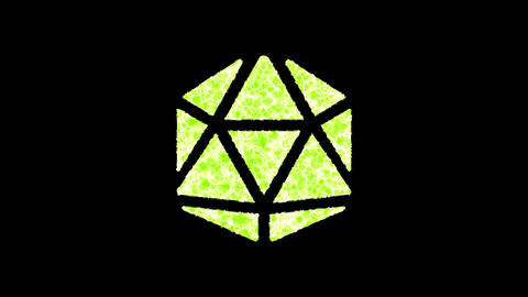 Symbol dice d20 shimmers in three colors: Purple, Green, Pink. In - Out loop. Alpha channel Animation