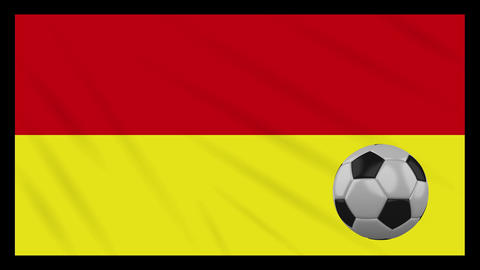 Tamil Eelam bicolor flag and soccer ball rotates on background of waving cloth Animation