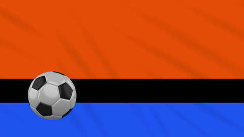 Chagos Islands flag and soccer ball rotates on background of waving cloth, loop Animation