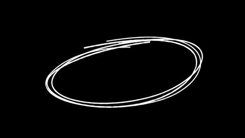 Gradual appearance of a hand drawn circle on a black background HD Live Action
