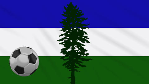 Cascadia flag and soccer ball rotates on background of waving cloth, loop Animation