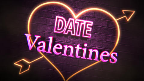 Animated closeup Valentine Date text and motion romantic heart on Valentine day shiny background Animation