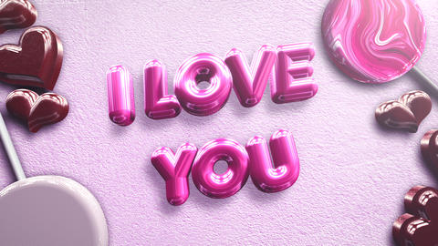 Animated closeup I Love you text and motion romantic heart on Valentine day shiny background Animation