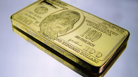 100 hundred dollars gold iron bar Benjamin Franklin USA America wealth Live Action