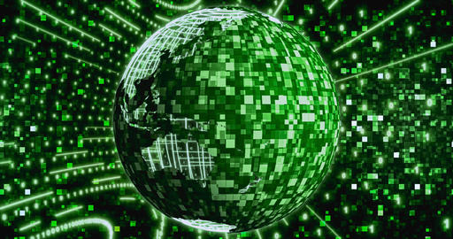 Matrix Digital binary background with rotating Planet earth. Seamless loop 4k Live Action