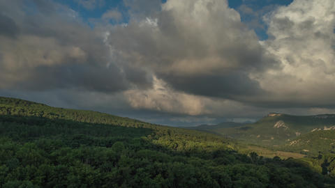 Summer Landscape Clouds Moving Over Mountain Forest Footage