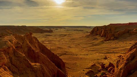 Bayanzag flaming cliffs at sunset in Mongolia Live Action