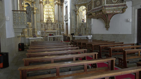Interior of Church of Mercy in Viseu, Portugal Live Action