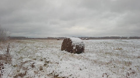 A slow panorama of a field covered with snow, where haystacks are located Live Action