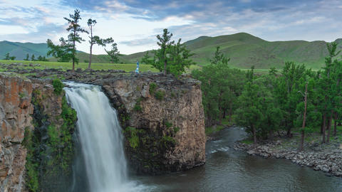 Orkhon waterfall in Mongolia at sunrise Live Action