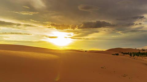 Beatiful landscape in desert at sunset, timelapse Live Action