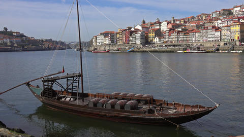 Traditional boat with barrels on Douro river Live Action
