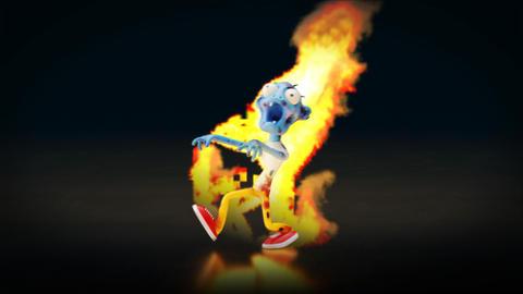 Fun burning zombie walking around Animation