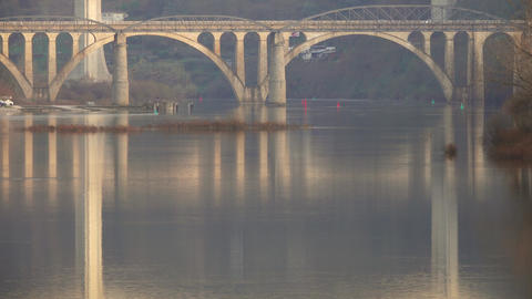 Bridges crossing Douro river in Portugal Live Action