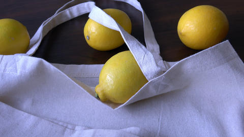 Eco bag with products fruits. Zero waste use less plastic… Stock Video Footage