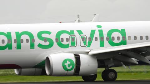 Transavia Boeing 737 landing GIF