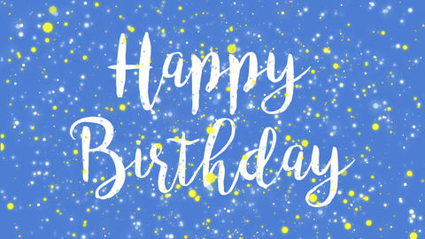 Animated colorful blue Happy Birthday greeting card Animation
