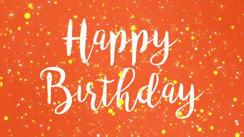 Animated colorful orange Happy Birthday greeting card Animation
