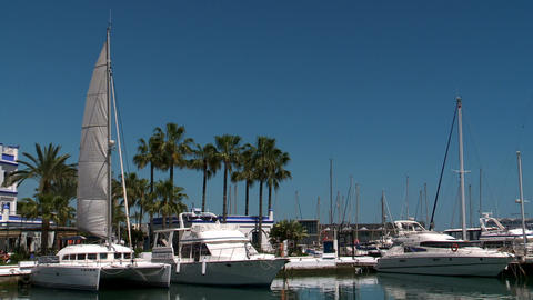 Yachts in Estepona Port marina Spanish Mediterranean panorama Live Action