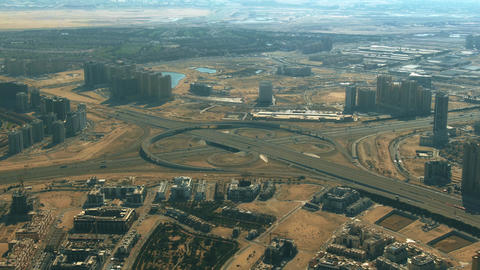 Aerial view of a big city highway interchange in Dubai, United Arab Emirates Live影片