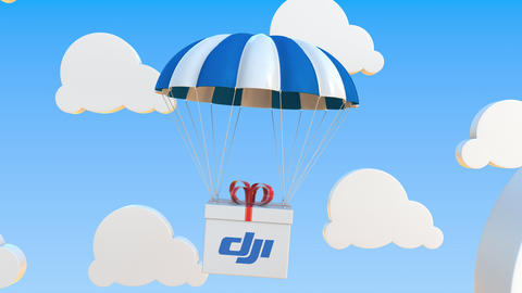 DJI logo on moving box moves under parachute. Editorial loopable 3D animation Live Action