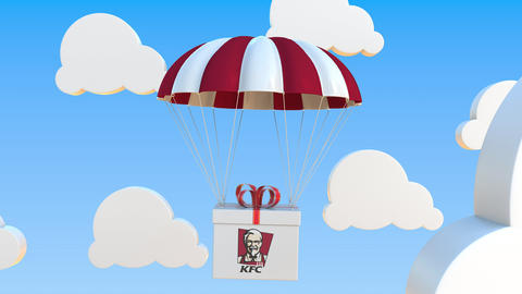 KFC logo on moving box moves under parachute. Editorial loopable 3D animation Live Action
