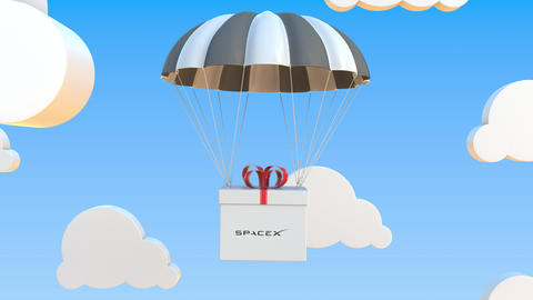 SPACEX logo on moving box moves under parachute. Editorial loopable 3D animation Live Action