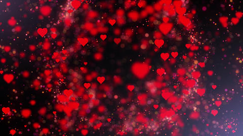 Hearts with bokeh pulsing for Valentines Day Animation