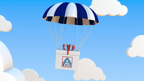 ALDI logo on moving box moves under parachute. Editorial loopable 3D animation GIF