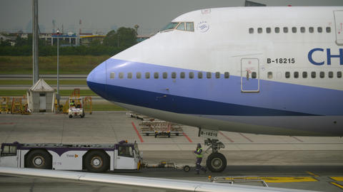 China Airlines Boeing 747 towing GIF
