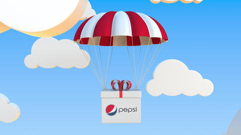 PEPSI logo on moving box moves under parachute. Editorial loopable 3D animation Live Action