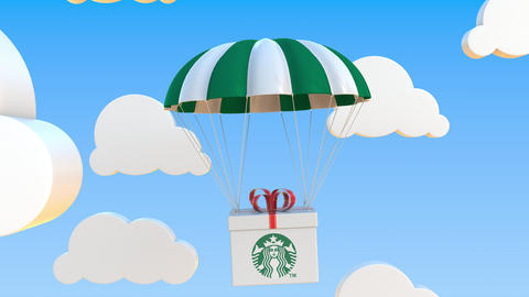 STARBUCKS logo on moving box moves under parachute. Editorial loopable 3D Live Action