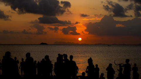 A party on the beach at sunset. Unrecognizable people admire the sunset at sea Live Action
