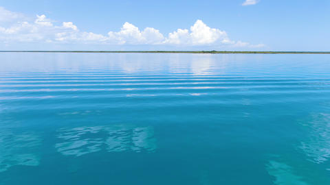Lake Bacalar tropical destination aerial drone view Live Action