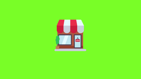 Flat shop pop up animation with green screen Animation